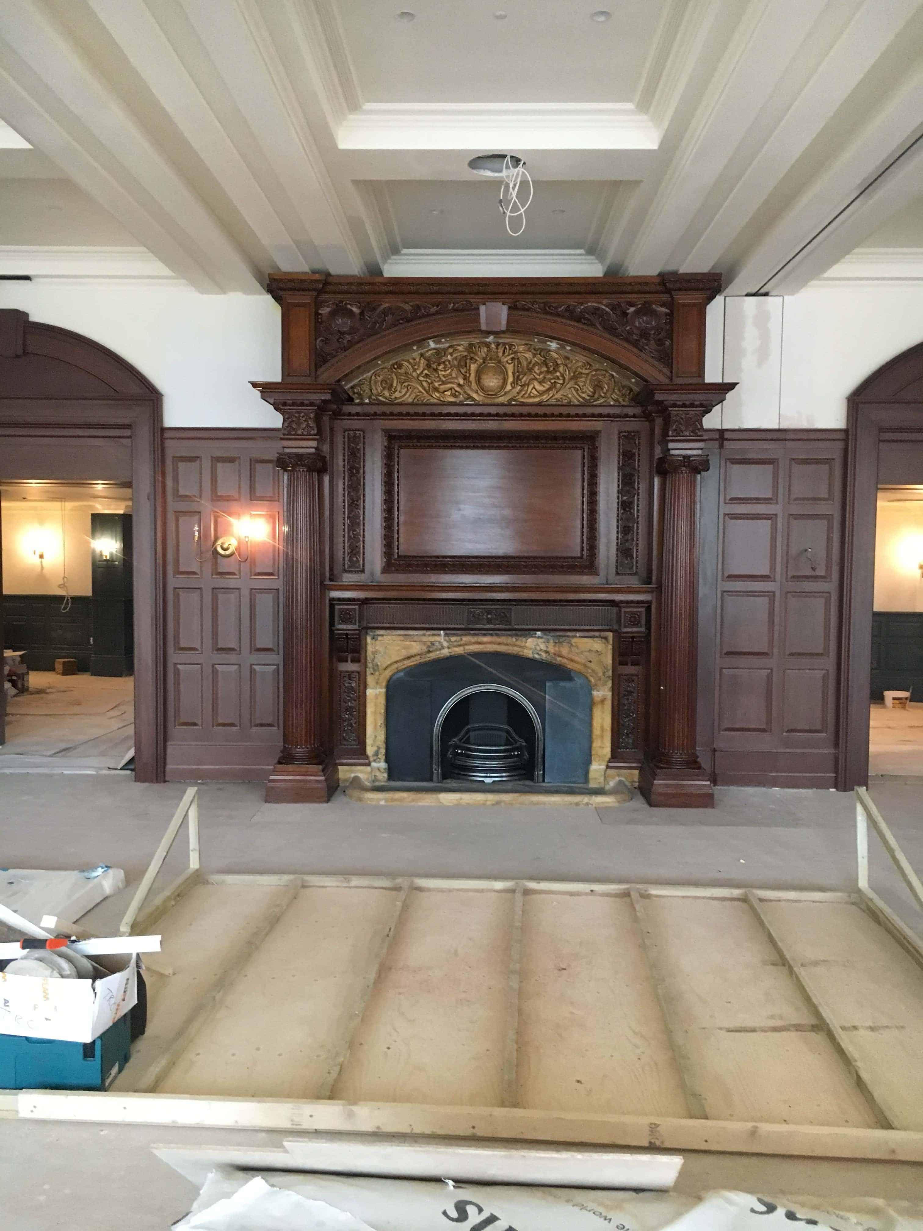 University Arms Hotel fireplace restoration