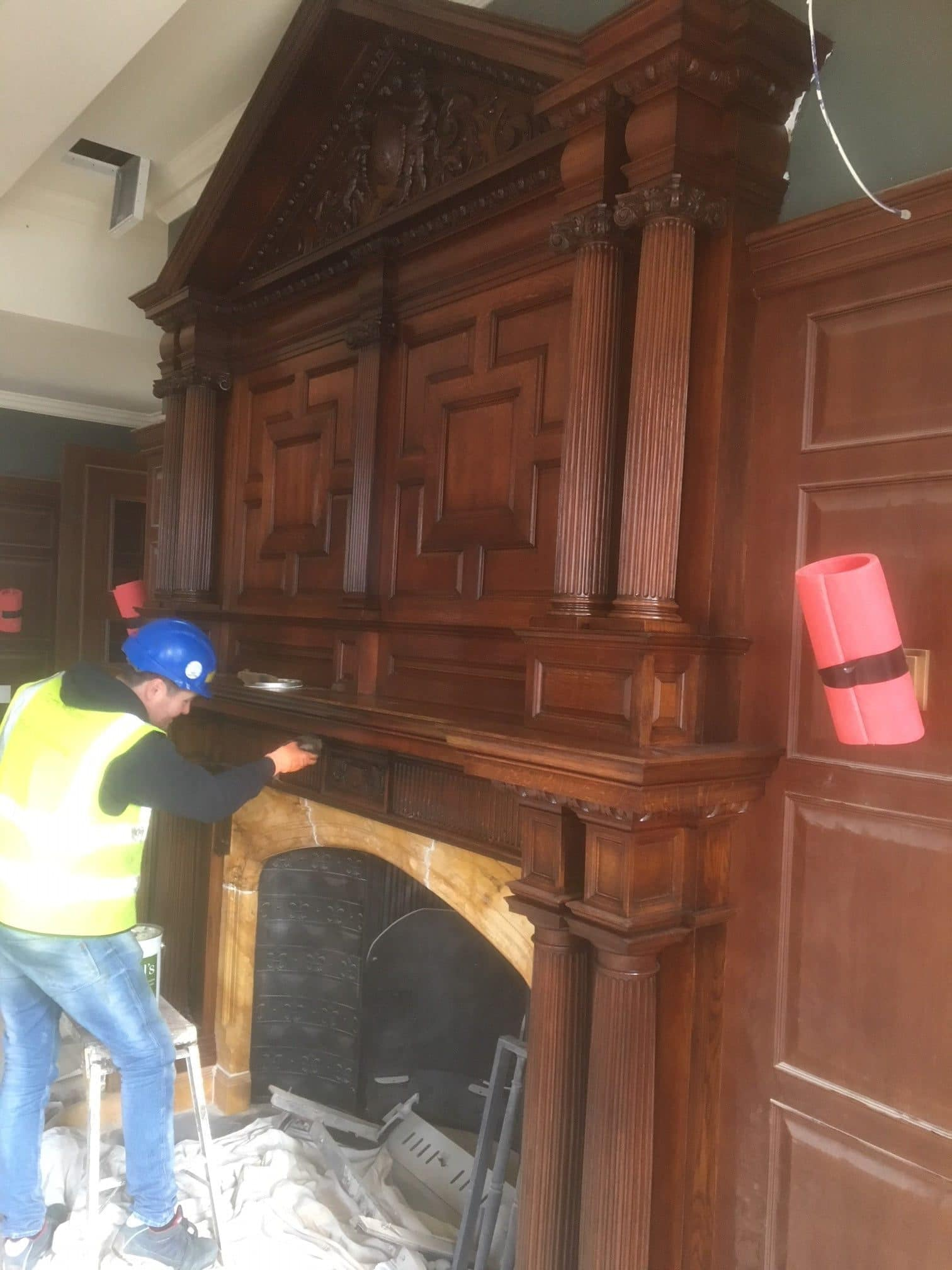 french polishing 19th Century fireplace