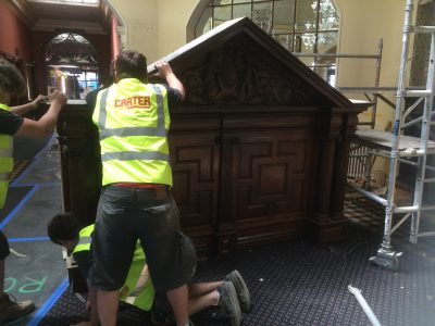 Careful removal of ancient fireplace