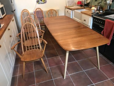 Chair and Ercol table after french polisher repair