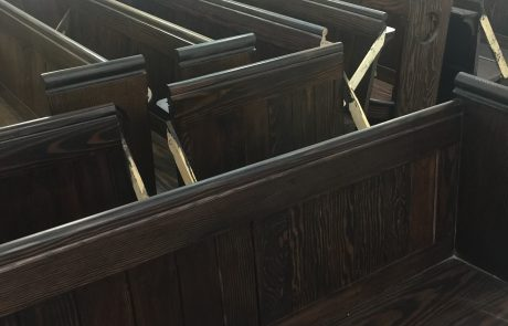 Pews being repolished