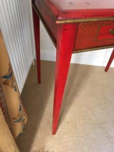 Glazed repaired on table leg